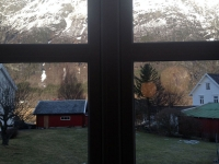 mountain through window